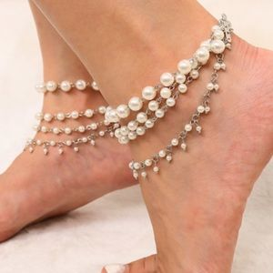 Jewelry - Faux Pearl Chain Anklet
